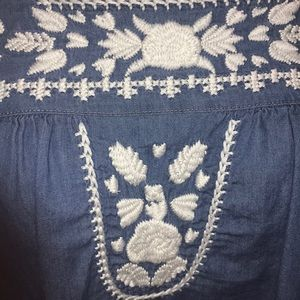 Lovers + Friends Tops - Blue and white embroidered blouse